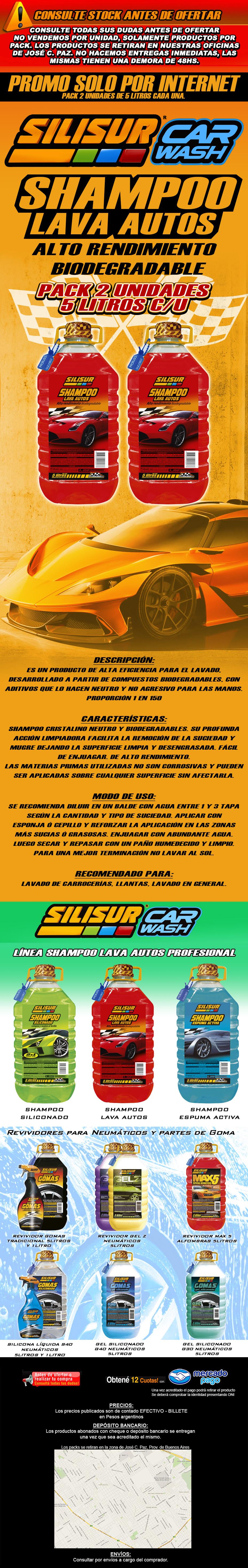 SILISUR CARWASH SHAMPOO LAVA AUTOS ALTO RENDIMIENTO PACK 2 UNIDADESO DE 5 LITROS CADA UNA