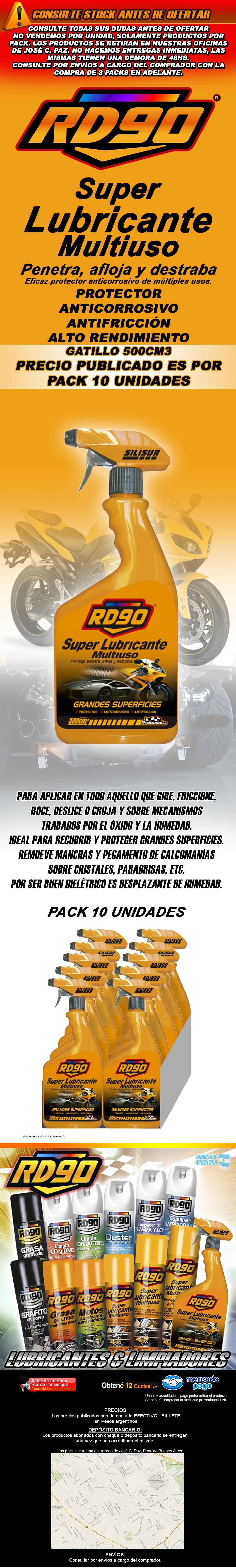 RD90 SUPER LUBRICANTE MULTIUSO GATILLO 500CC PACK 10UNIDADES
