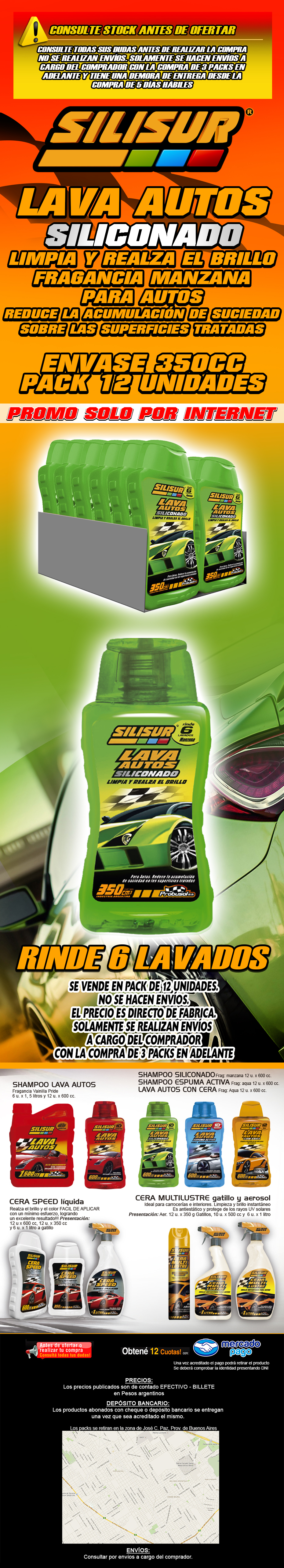 silisur shampoo lava autos siliconado manzana 350cc pack 12u.