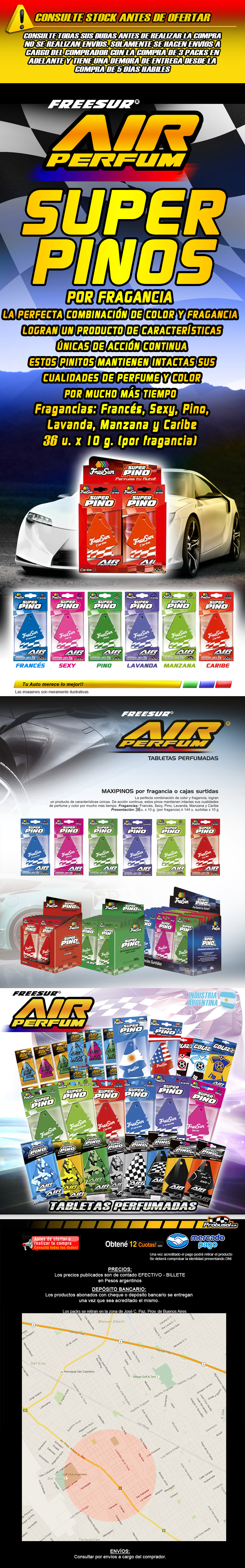 freesur air perfum super pinos pack 72u x 10gr x fragancia