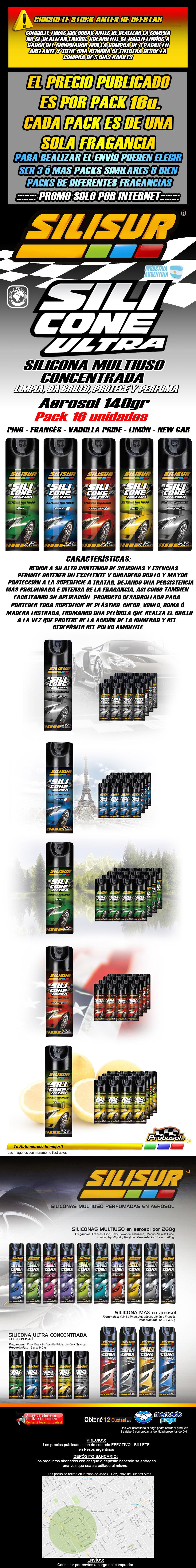 silisur silicona multiuso ultra concentrada aerosol 140grs pack 16u.